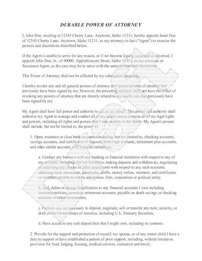 Sample Power of Attorney Form Free Power of Attorney Letter Sample – Sample Durable Power of Attorney Form
