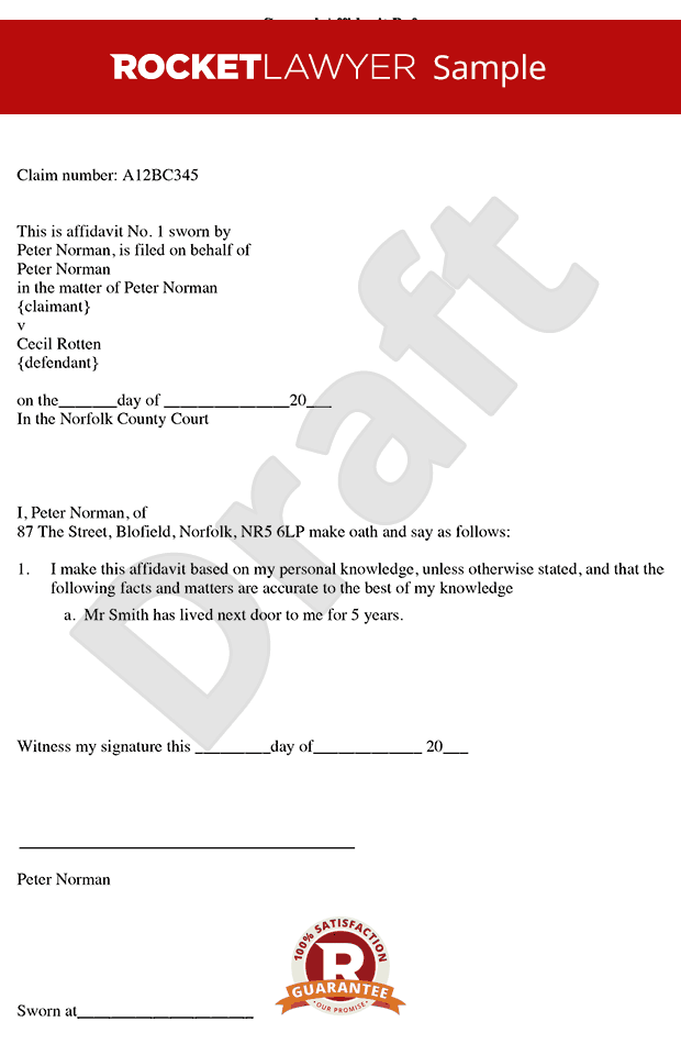 Affidavit Form - Create Free General Affidavit Template