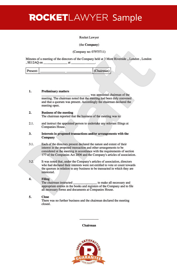 Board Minutes Template - Sample Board Meeting Agenda