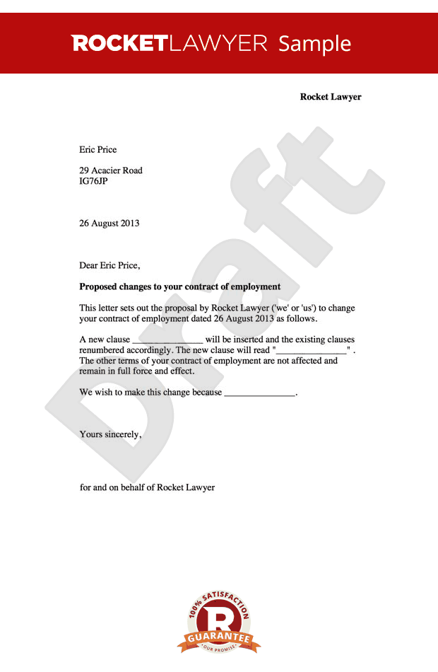 Employment contract amendment letter change to for Terms of employment contract template