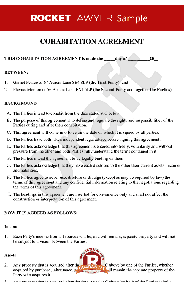 Cohabitation Agreement Sample - Living Together Agreement - No-nup