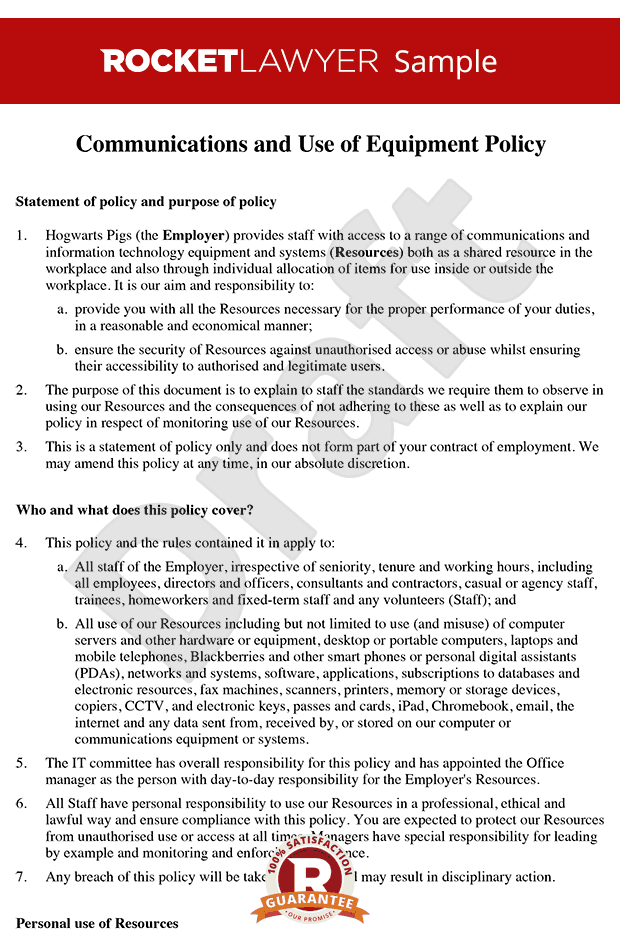 Communication Policy - Use of Equipment Policy