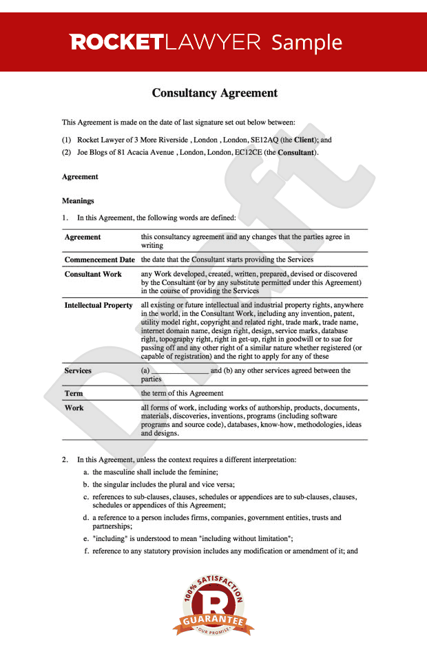 Consultancy Agreement Template Uknsultancy Agreement
