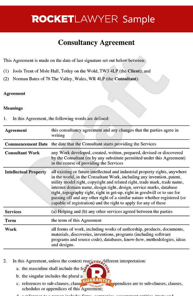 Consultancy agreement template contractor agreement for Consulting contracts templates