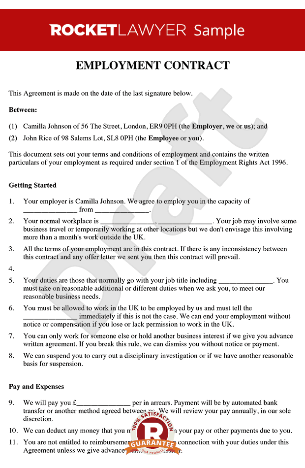Employment contract template free contract of employment for Statement of terms and conditions of employment template