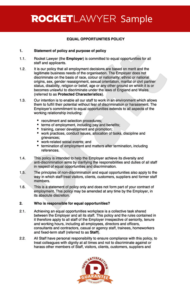 Equal Opportunities Policy - Equality and Diversity Policy Sample