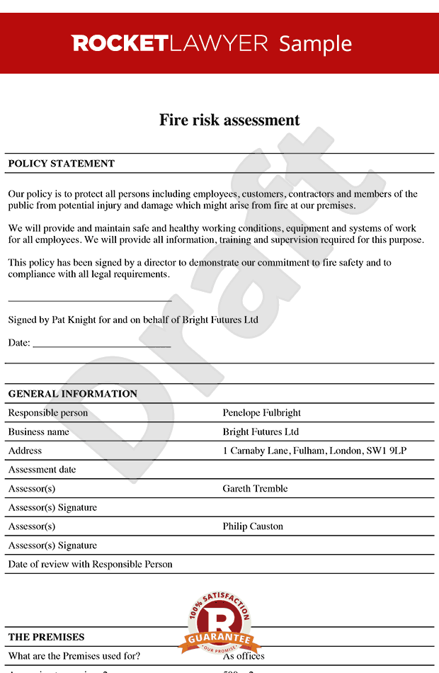 Free Fire Risk Assessment Template - Fire Risk Policy