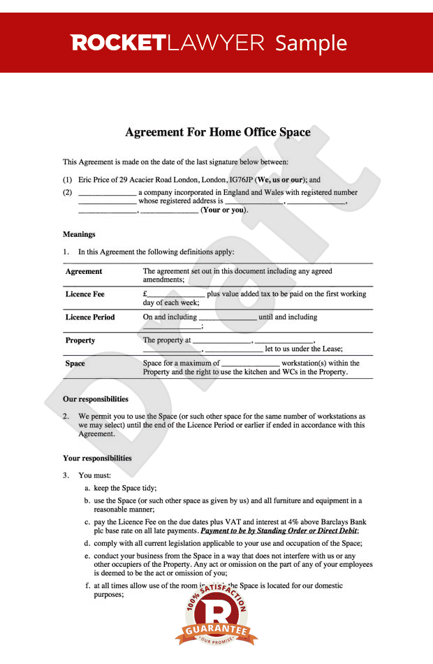 Home Office Lease - Home Office Rental Agreement Template