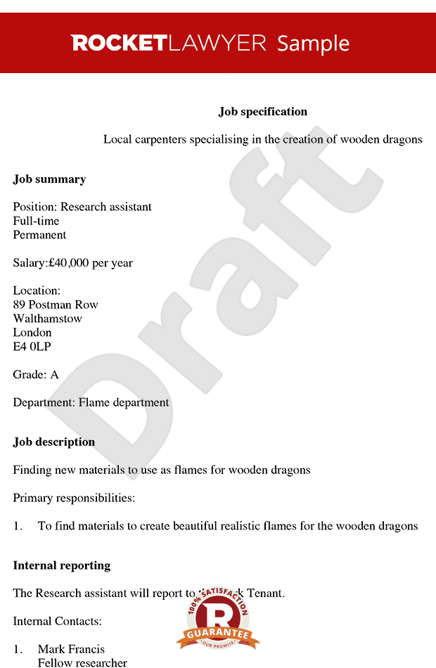 Create & Print Free Job Description Template - Job Spec