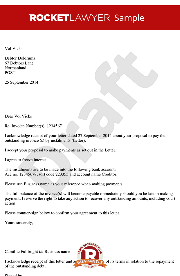 Letter Accepting Payment in Instalments - Instalment Agreement