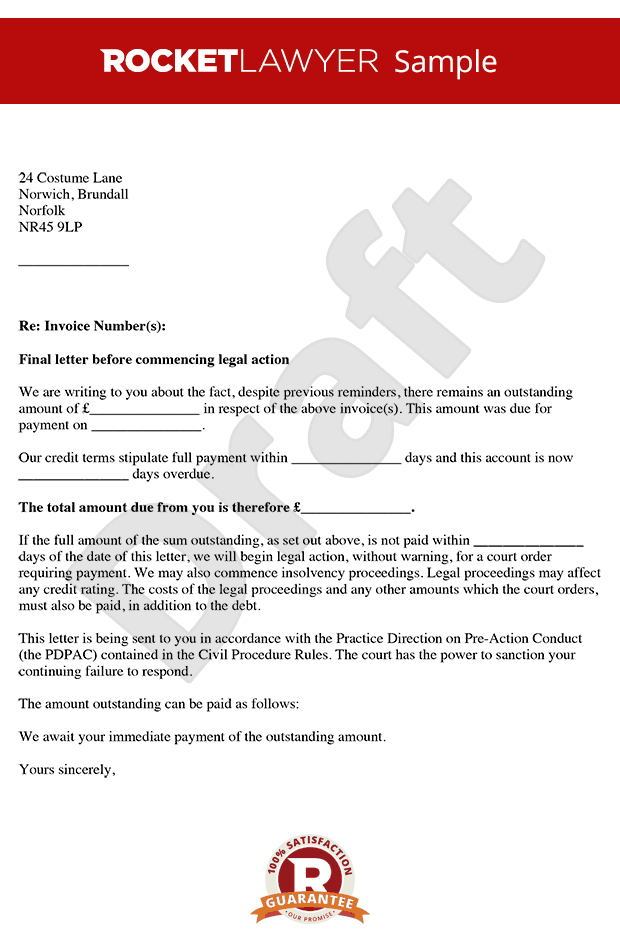 Letter Before Action - Letter Before Claim - Letter Before Action Template