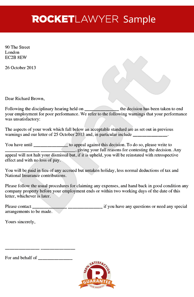 Dismissal Letter for Poor Performance - Poor Performance Dismissal Letter