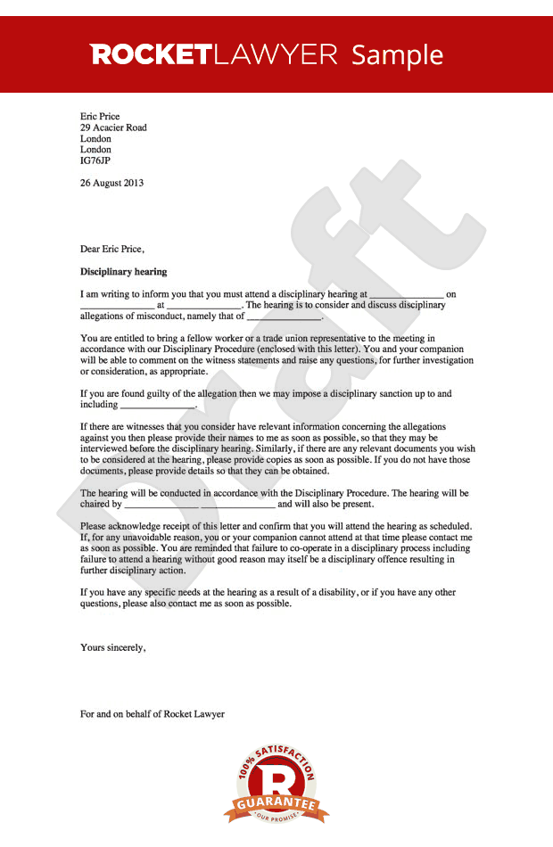 Disciplinary Hearing Letter - Notice of Disciplinary Hearing