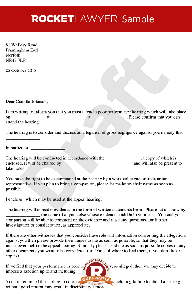 Poor Performance Hearing Letter - Invitation to Poor Performance Hearing
