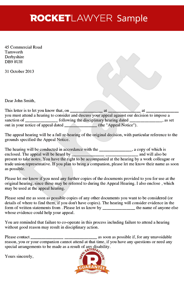 Poor Performance Appeal Hearing Letter - Notice of Poor Performance Appeal