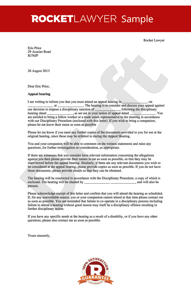 Disciplinary Appeal Letter - Notice of Appeal Hearing Template
