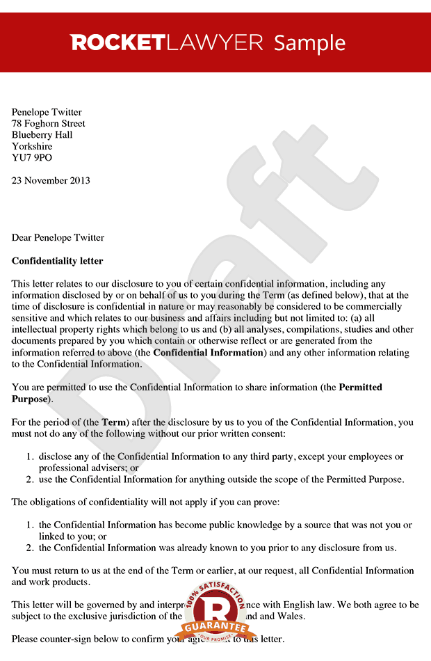 Letter of Confidentiality - Create a Simple Confidentiality Letter