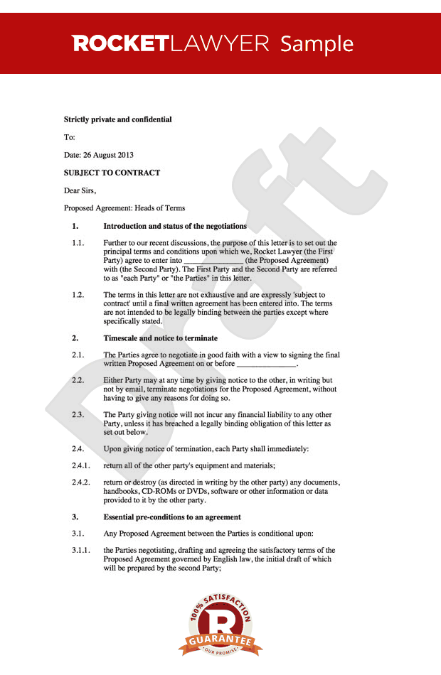 Exclusivity agreement contract sample rocket lawyer for Exclusivity letter template