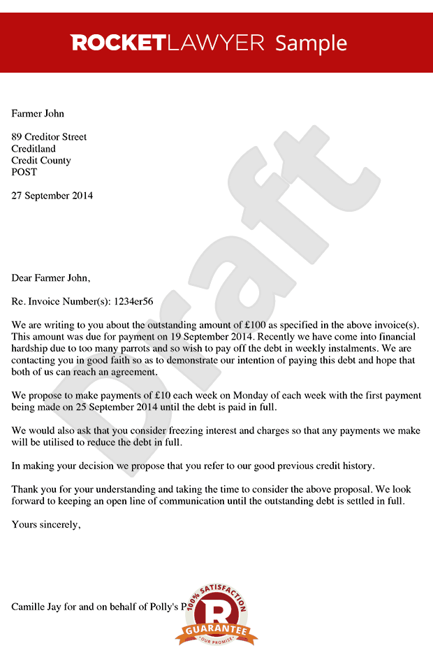 letter proposing for payment in instalments