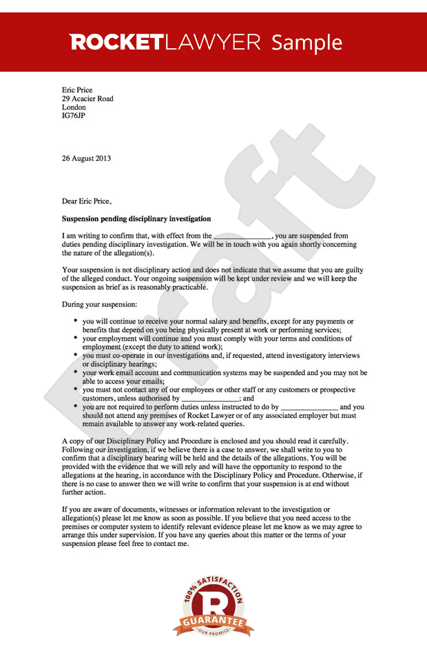 Suspension Letter Pending Investigation - Letter suspending an employee