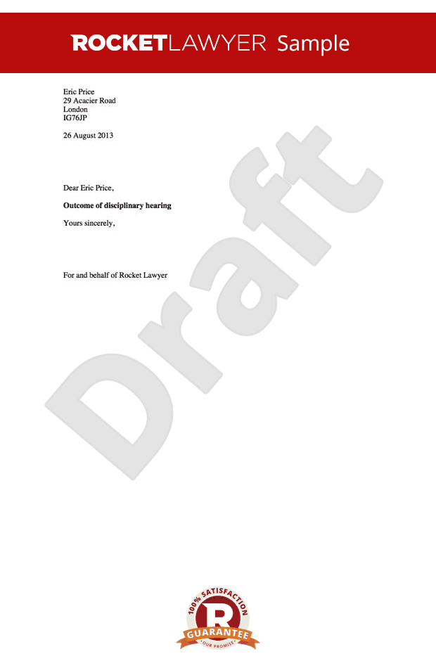 Disciplinary Outcome Letter - Warning Letter to Employee after Hearing Template