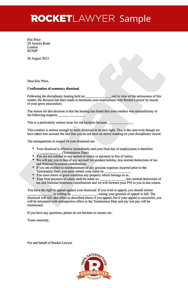 Summary Dismissal Letter Example