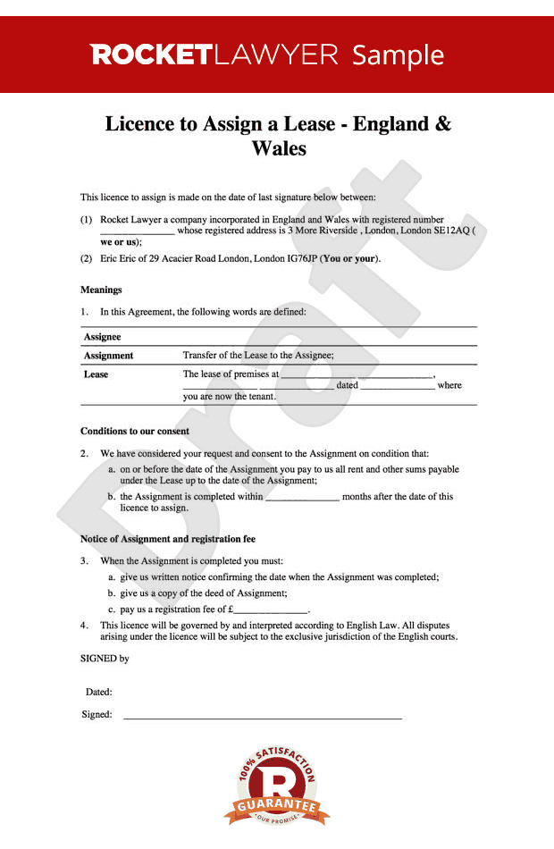 commercial property licence agreement template - licence to assign free assignment of lease template