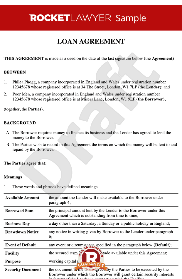 Loan agreement loan contract loan agreement template Borrowing money to build a house