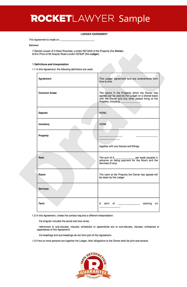 Free Lodger Agreement Template - Excluded Tenancy Agreement