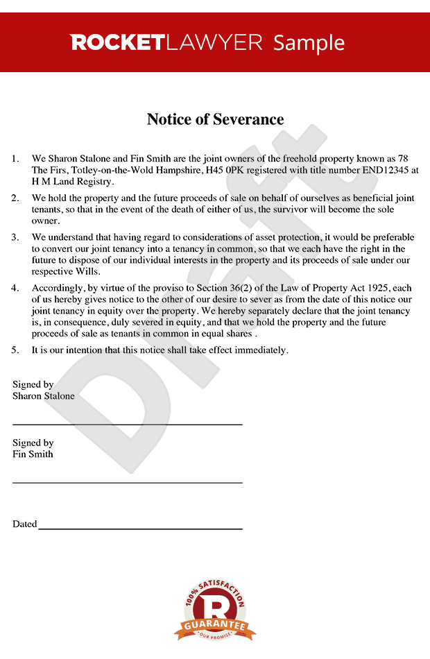 Notice of Severance - Severance of Joint Tenancy - Sever Joint Tenancy