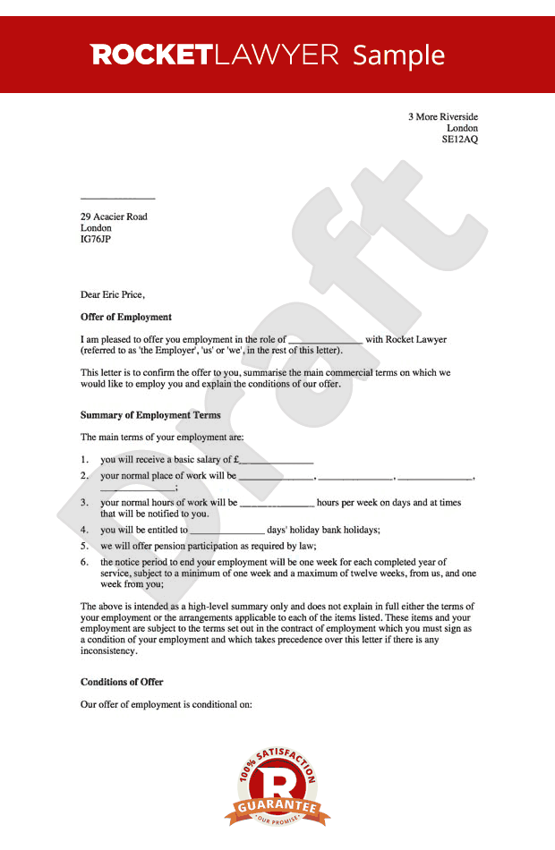 Free Sample Employment Offer Letter