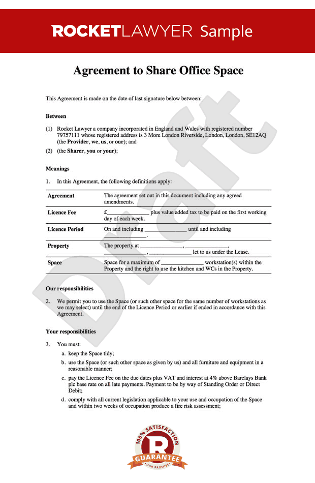Office sharing agreement - Office rental agreement template - Share your office