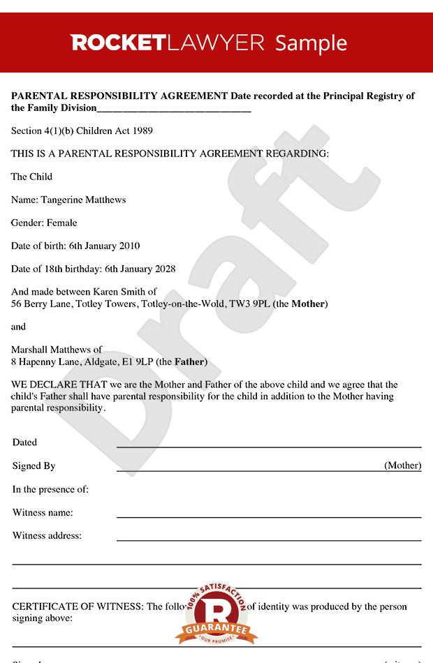 Parental Responsibility Agreement - Parental Responsibility Form