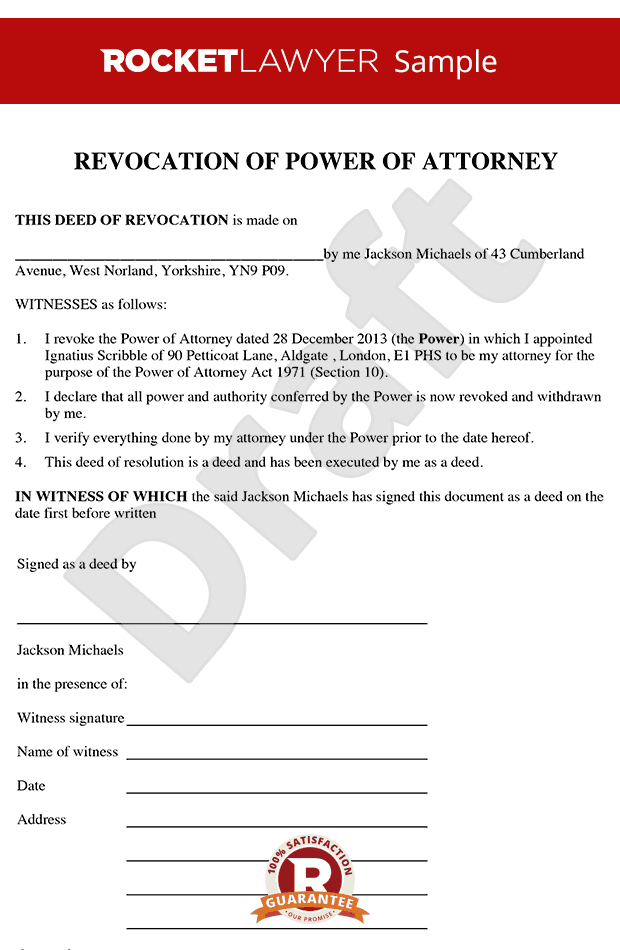 corporate power of attorney template - revocation of power of attorney create a deed of