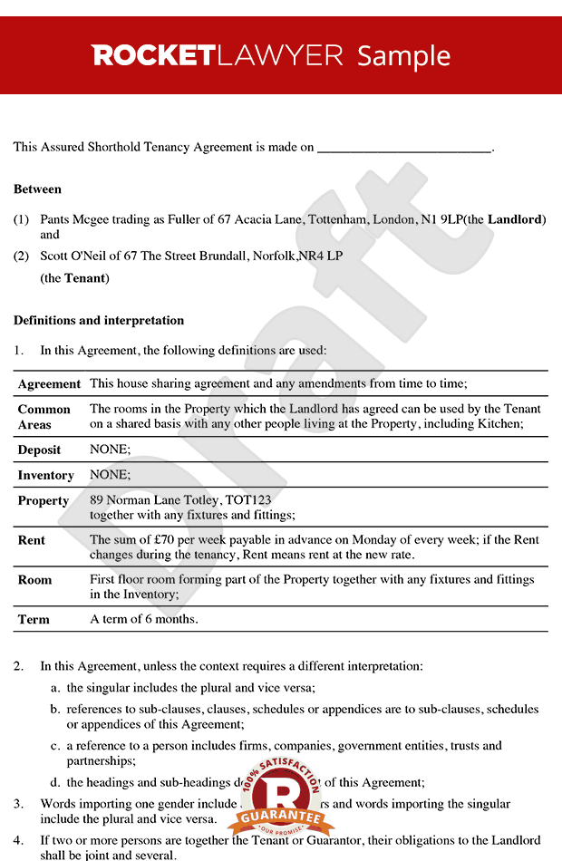 Room rental agreement tenancy agreement for rooms in for House sharing agreement template