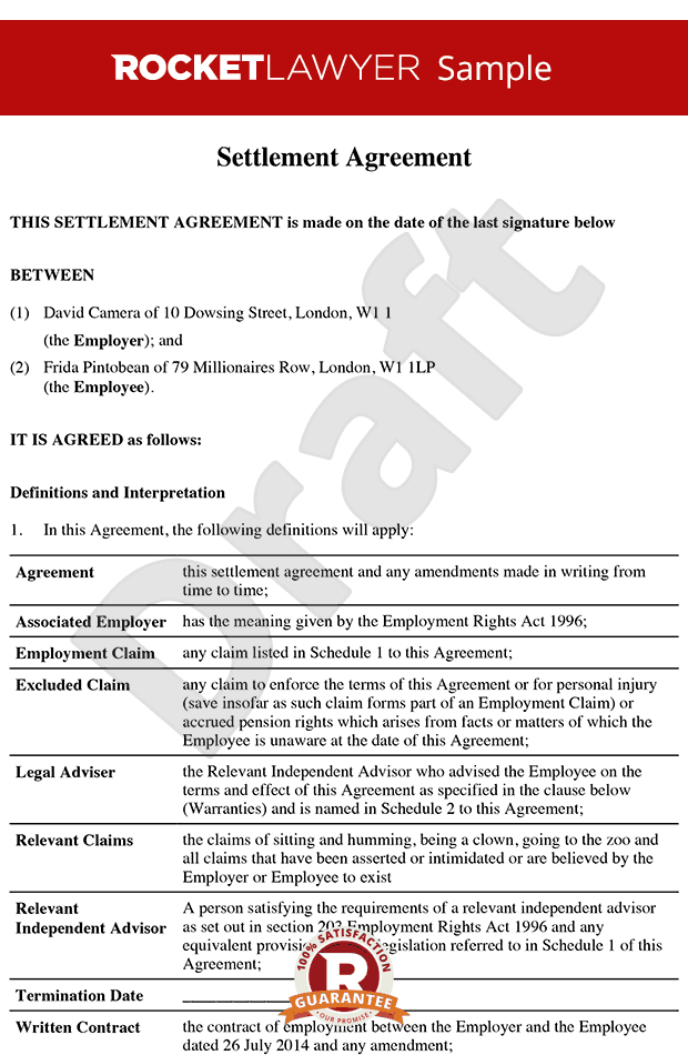 Settlement agreement (formerly Compromise Agreement)