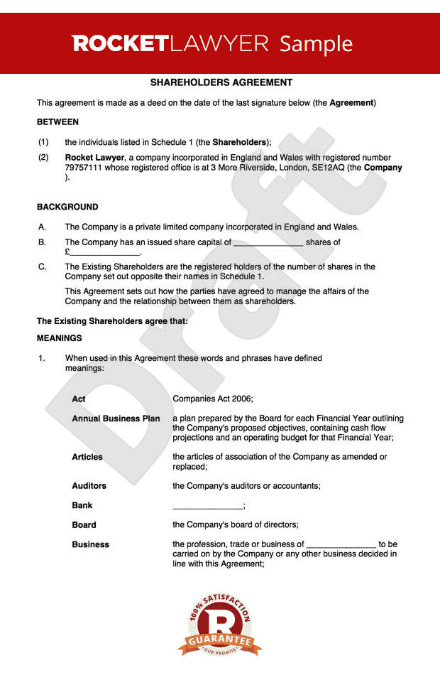 Free shareholders agreement template uk for Shareholder buyout agreement template