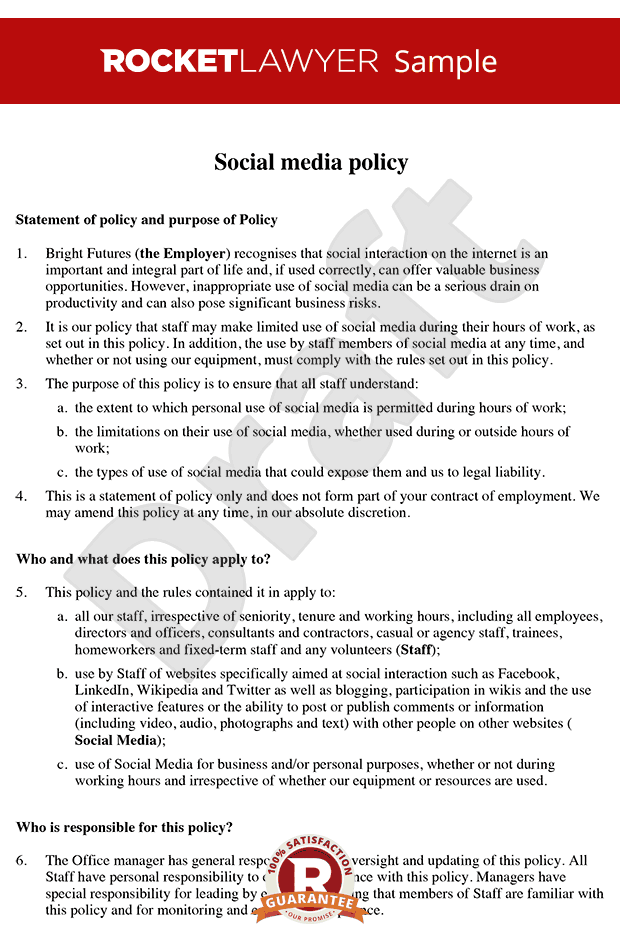 Social media policy social media policy template for Health and safety statement of intent template