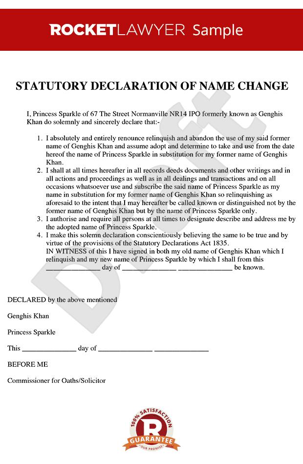 Statutory Declaration Name Change Statutory Declaration