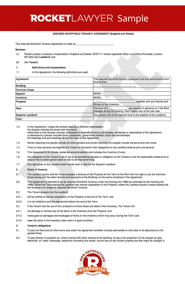 Free assured shorthold tenancy agreement for a flat ast for Letting agreement template free
