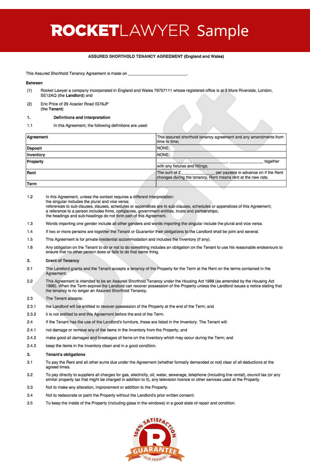 Tenancy Agreement Template Shorthold Tenancy Agreement Uk
