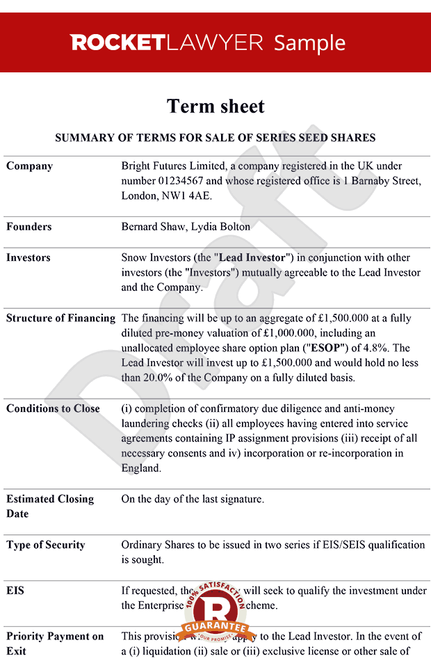 sheet - Term sheet template - Term sheets