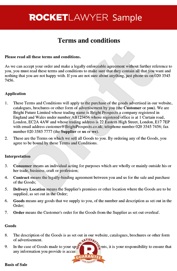 sale of goods agreement template - terms and conditions of sale of goods to consumers b2c