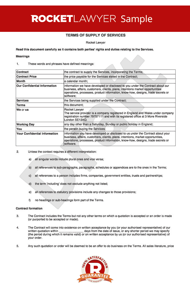 T c for supply of services to business customers for Term and condition template
