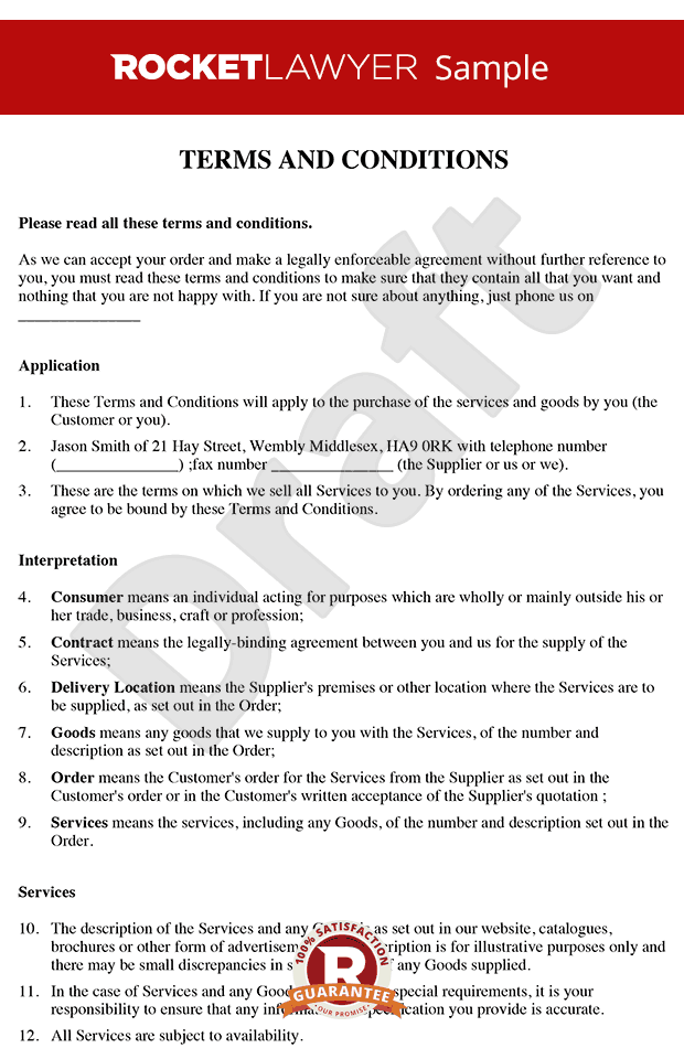 Terms and conditions for the supply of services to for Retail terms and conditions template