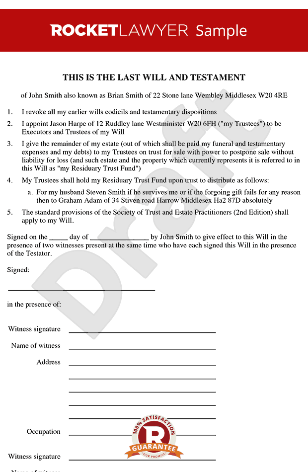 Will Template - Free Last Will & Testament Form Online