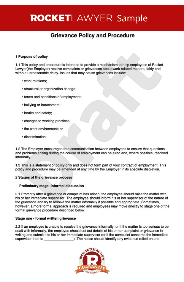 Grievance procedure create a grievance policy and procedure for Grievance outcome letter template
