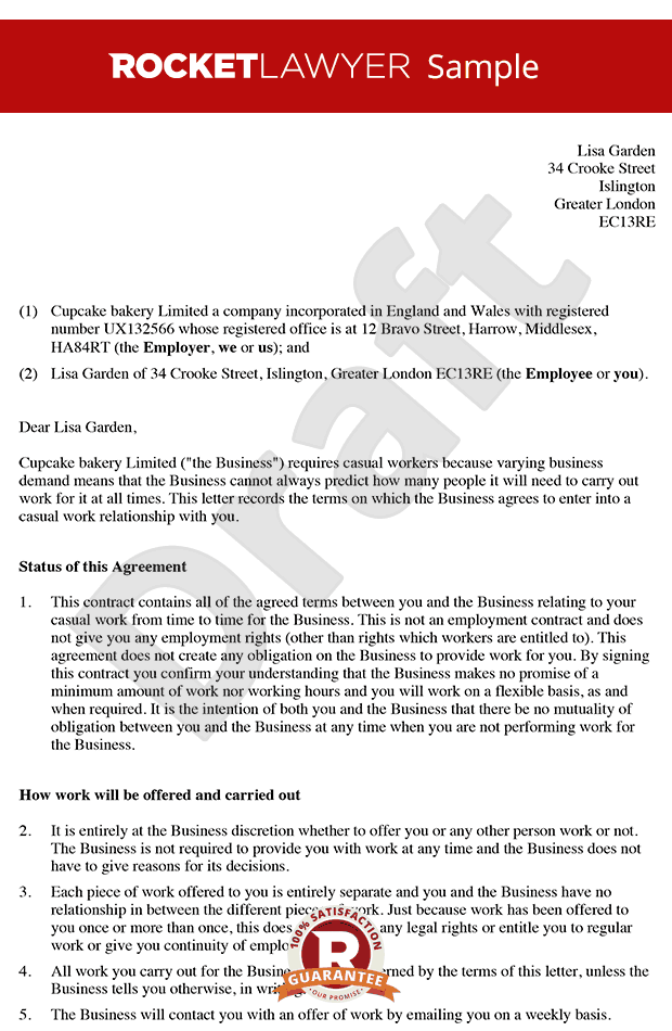 free zero hour contract template