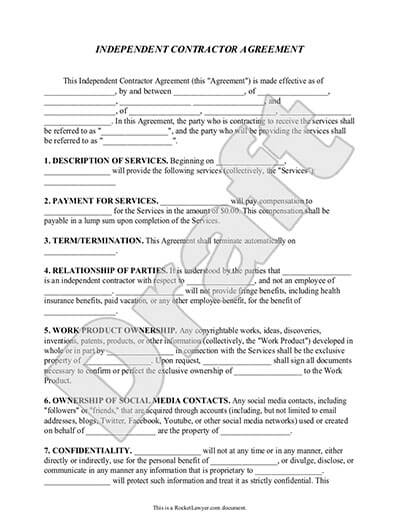 Sample Independent Contractor Agreement document preview