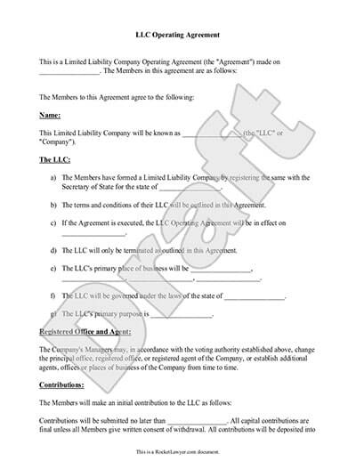 Sample LLC Operating Agreement document preview